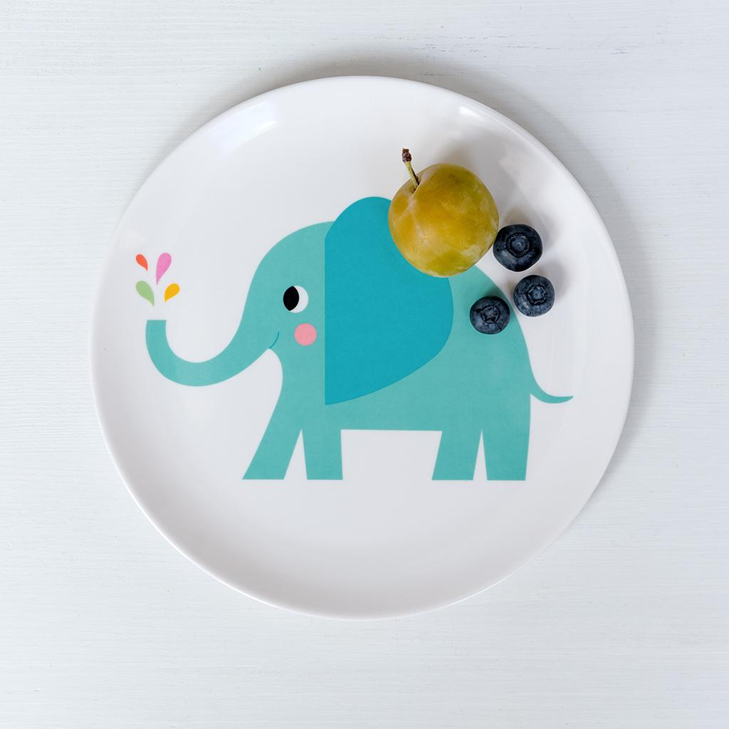 Elvis The Elephant Melamine Plate   Rex London (dotcomgiftshop)