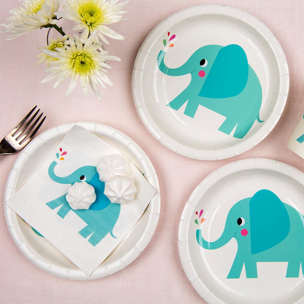Elvis the Elephant Paper Plates  sc 1 st  Dotcomgiftshop & Elvis The Elephant Paper Plates (pack Of 8)   Rex London ...