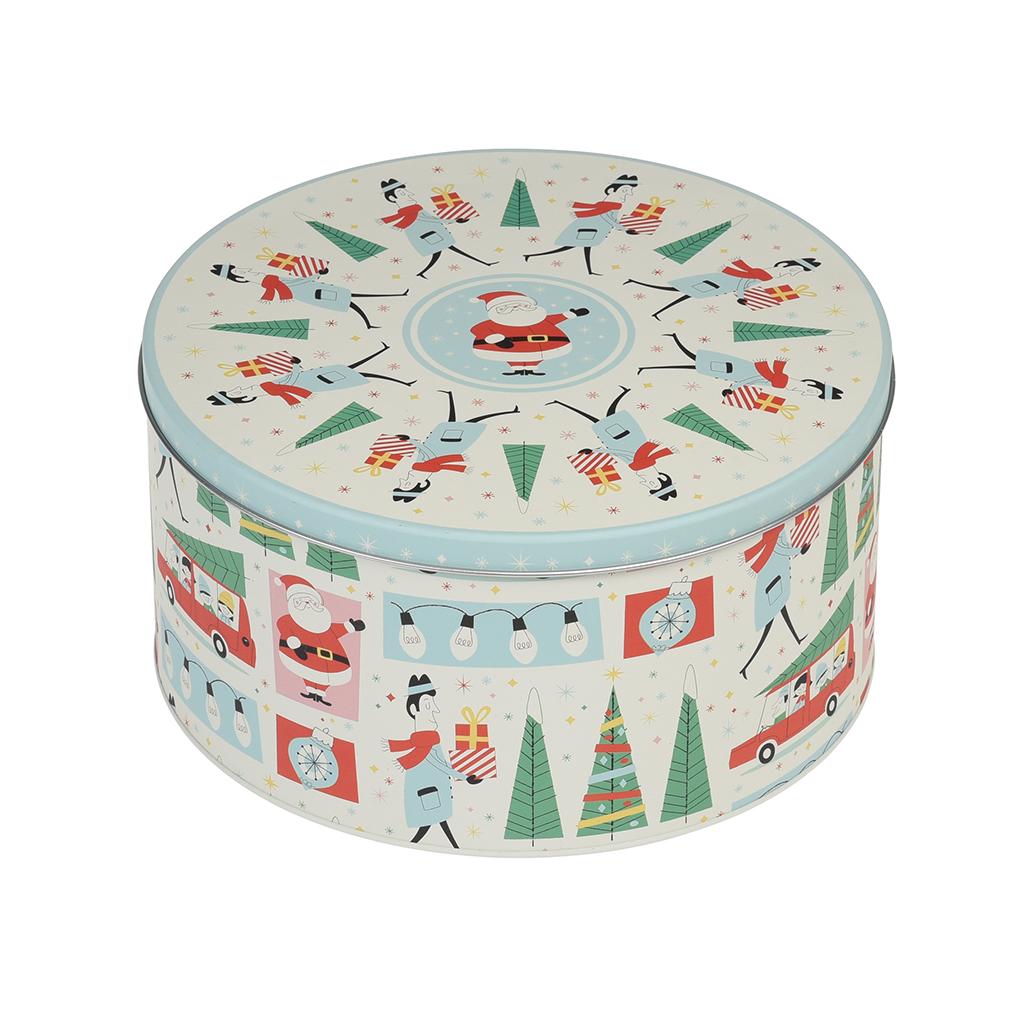 Festive Family Christmas Round Tin Dotcomgiftshop
