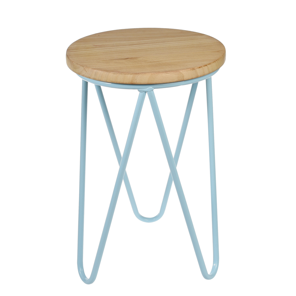Superb img of Blue Fifties Style Wooden Stool dotcomgiftshop with #8F6C3C color and 1024x1024 pixels