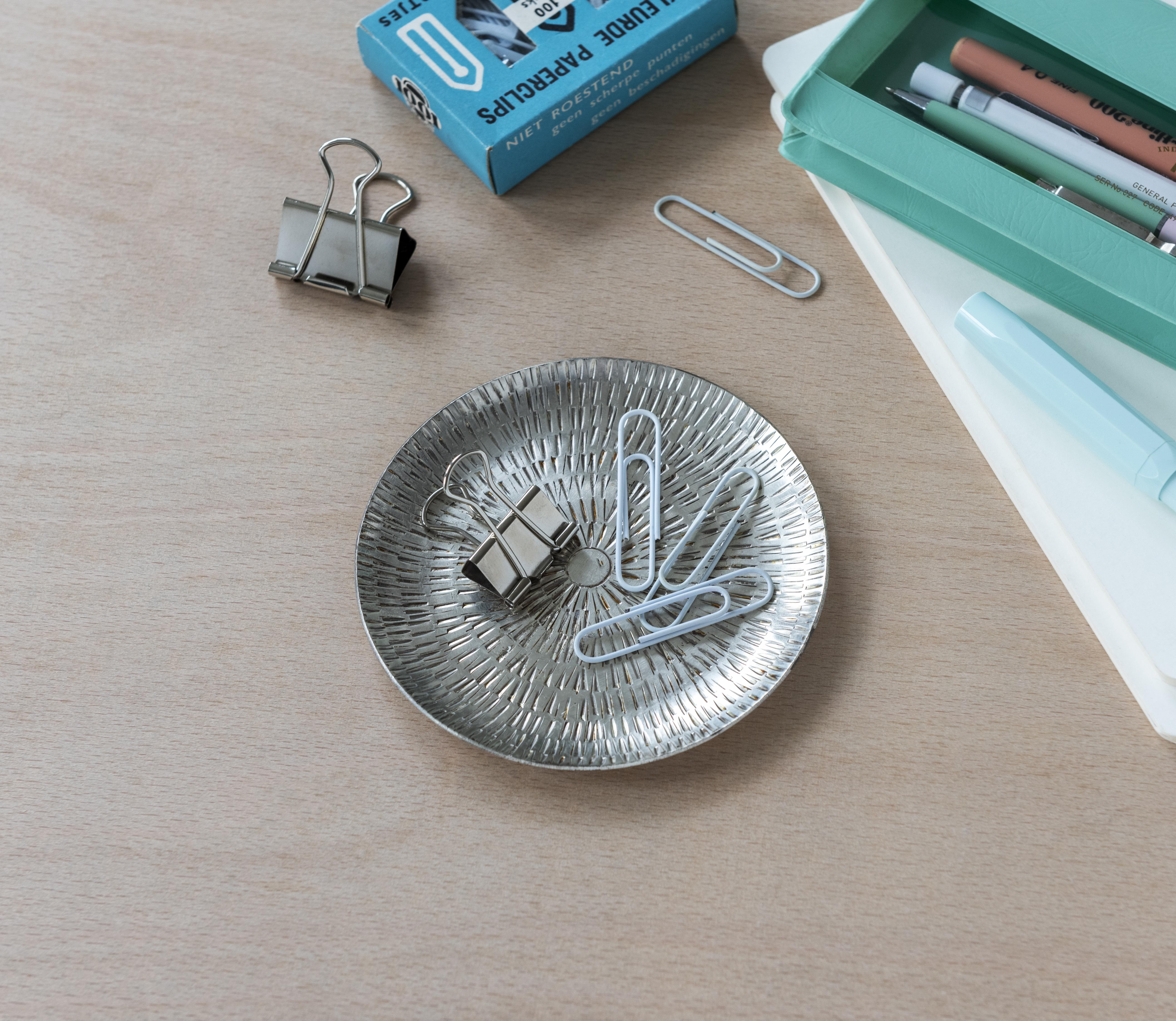 Silvered brass jewellery dish