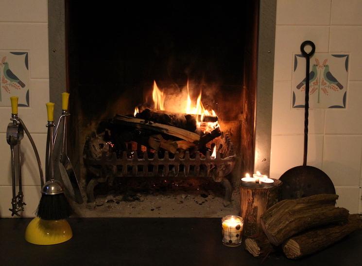 Log burning fireplace