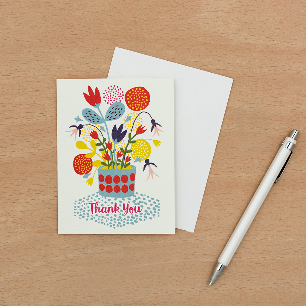 flower pot thank you card  rex london dotcomgiftshop