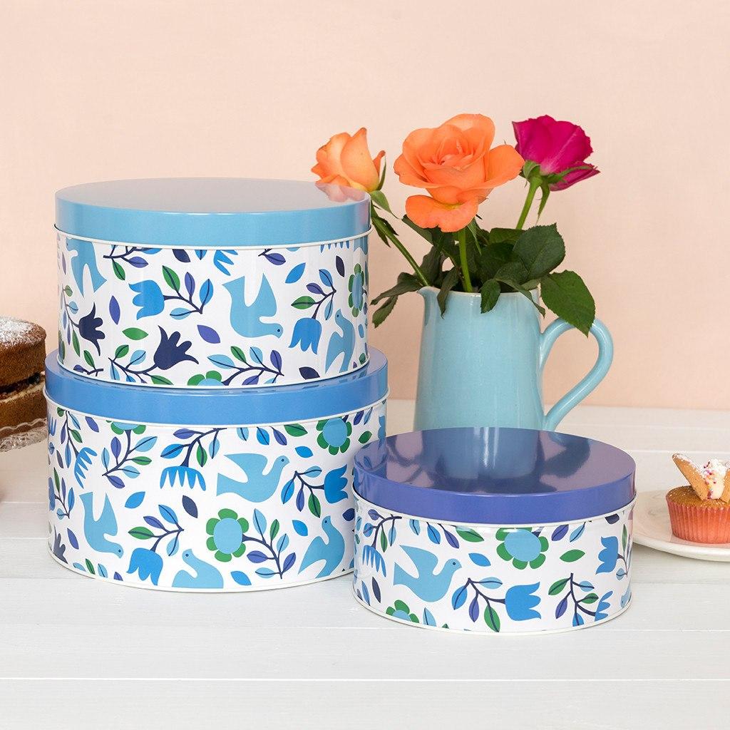 Folk Doves round tins set of 3