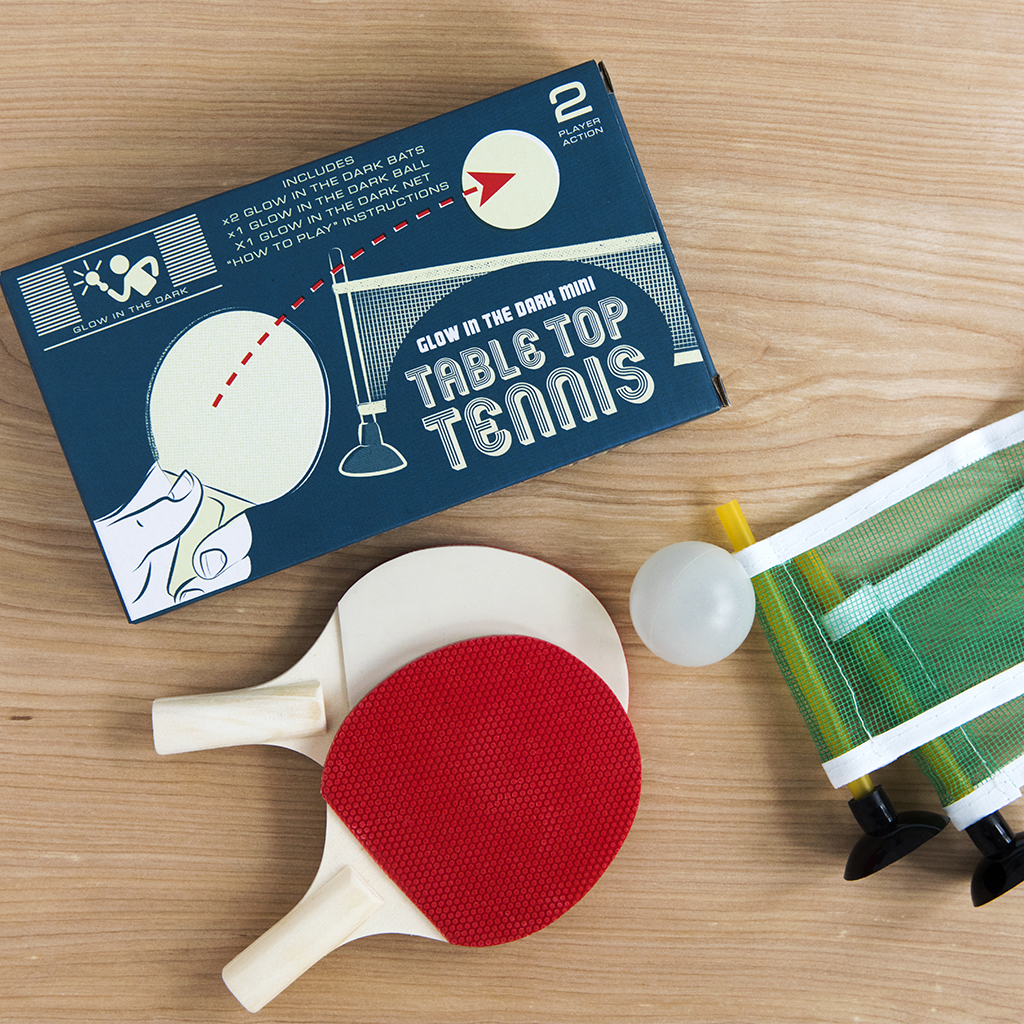 Glow In The Dark Mini Table Tennis Set | Rex London (dotcomgiftshop)
