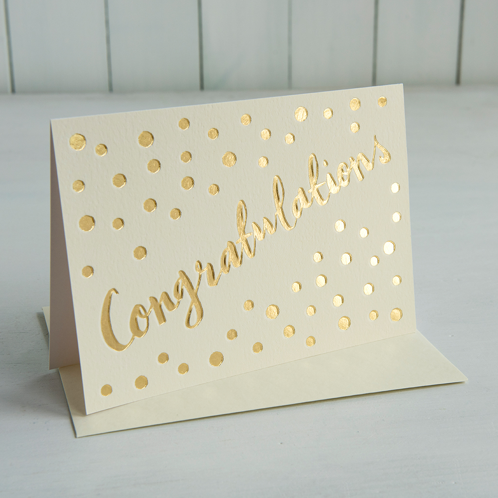 Gold Congratulations Card Rex London Dotcomgiftshop