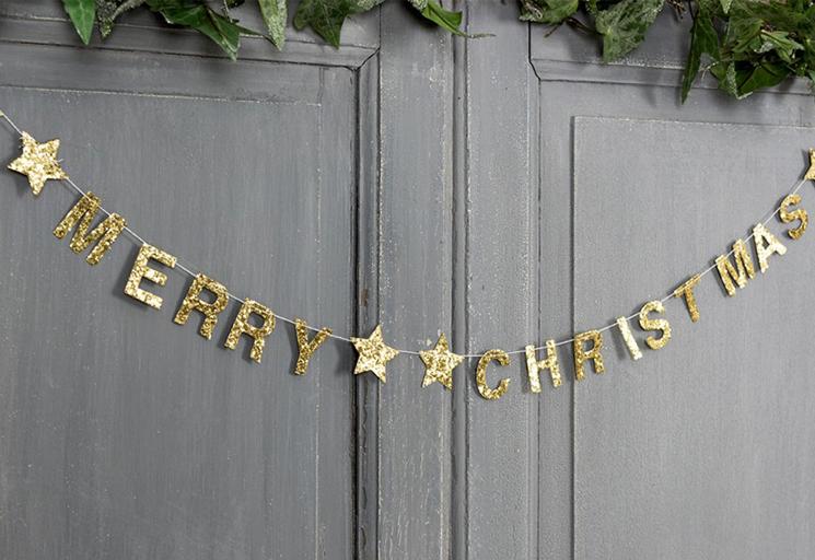 Gold Merry Christmas garland