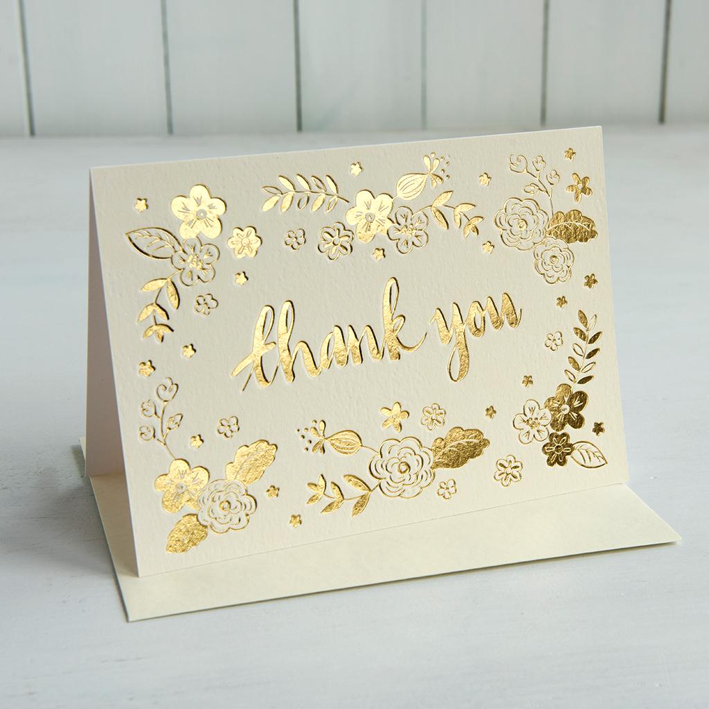 Gold Thank You Card Rex London Dotcomgiftshop