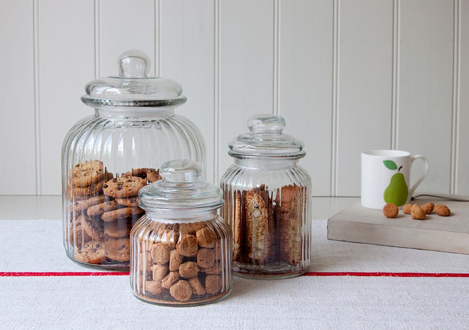 Ridged Glass Biscuit Jar Rex London At Dotcomgiftshop
