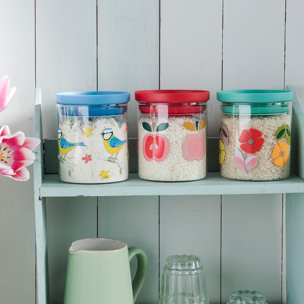 Mid Century Poppy Glass Storage Jar | Rex London (dotcomgiftshop)