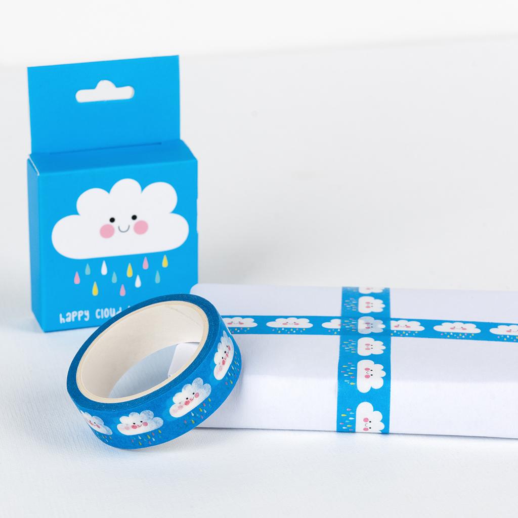 blue washi tape raining cloud print