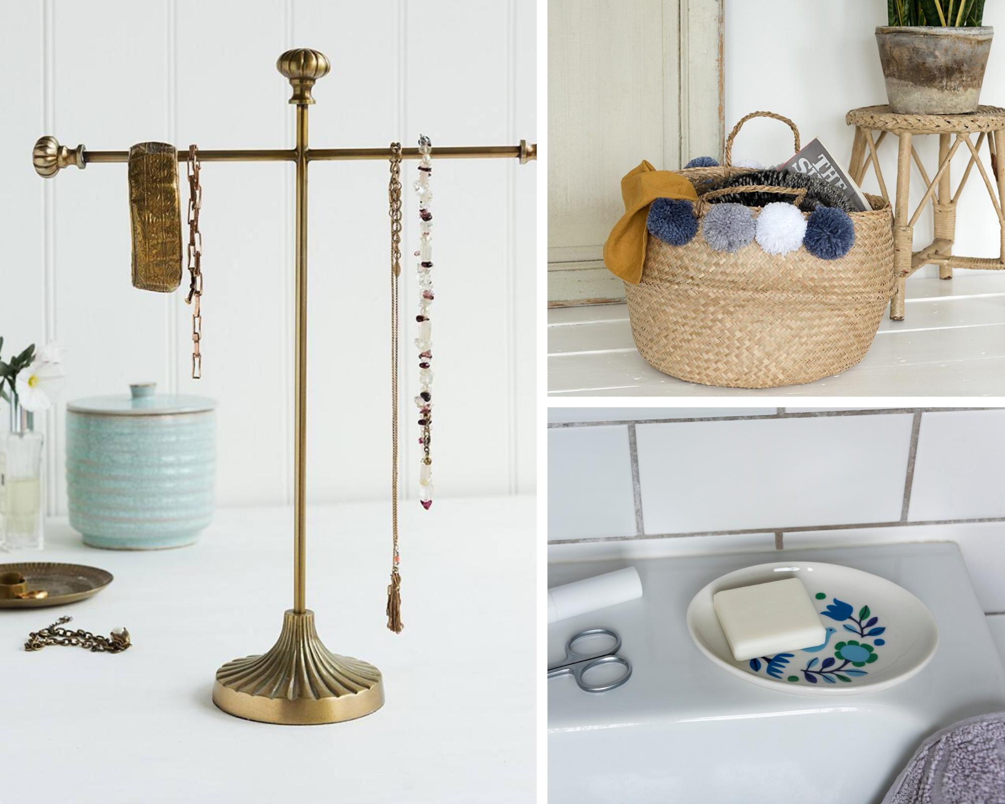 Brass jewellery stand, pom pom basket, Folk Doves trinket tray