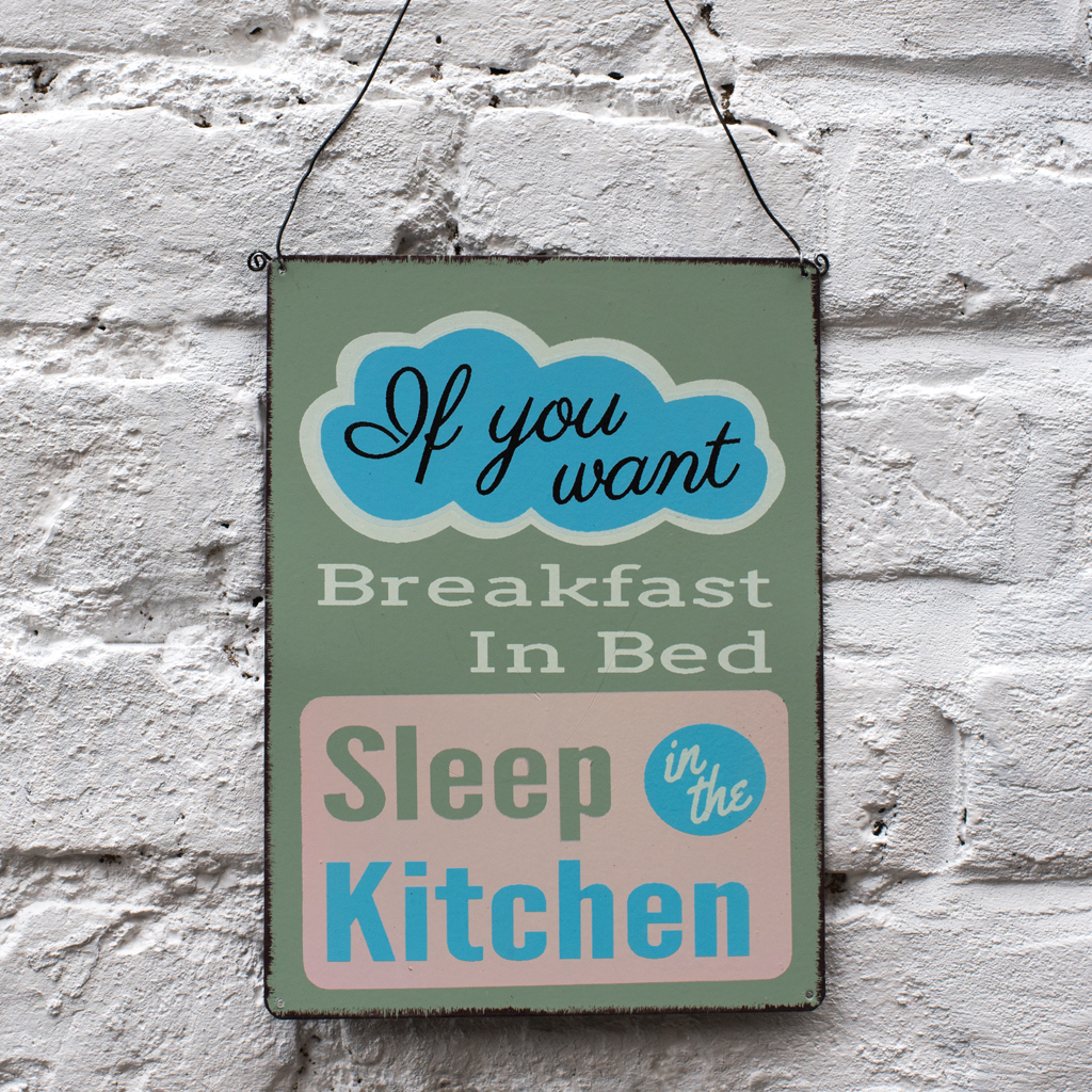 If You Want Breakfast In Bed Metal Sign | Rex London (dotcomgiftshop)
