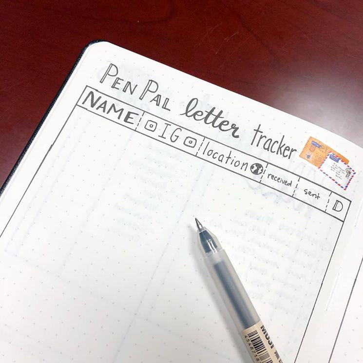 Pen pal tracker by journalwithjana