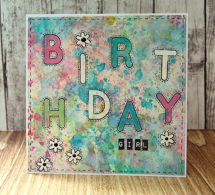 distressed oxide background greetings card