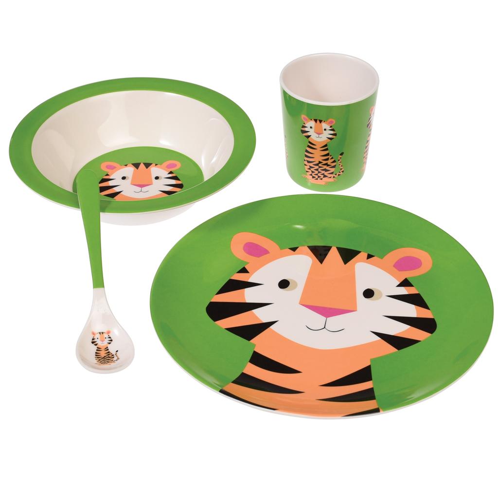 Kids Green Melamine Set - Tiger  sc 1 st  Dotcomgiftshop & Children\u0027s Tiger Melamine Set | Rex London (dotcomgiftshop)