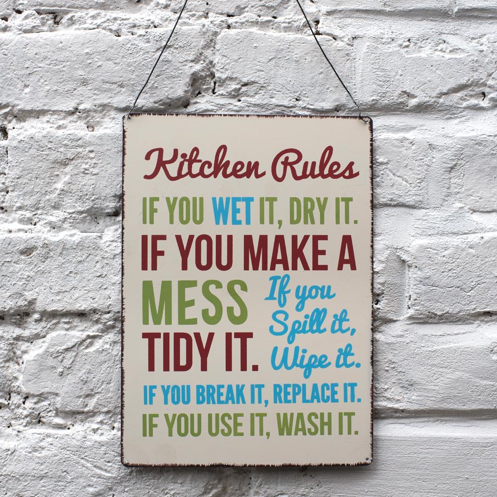 Vintage Kitchen Rules Sign