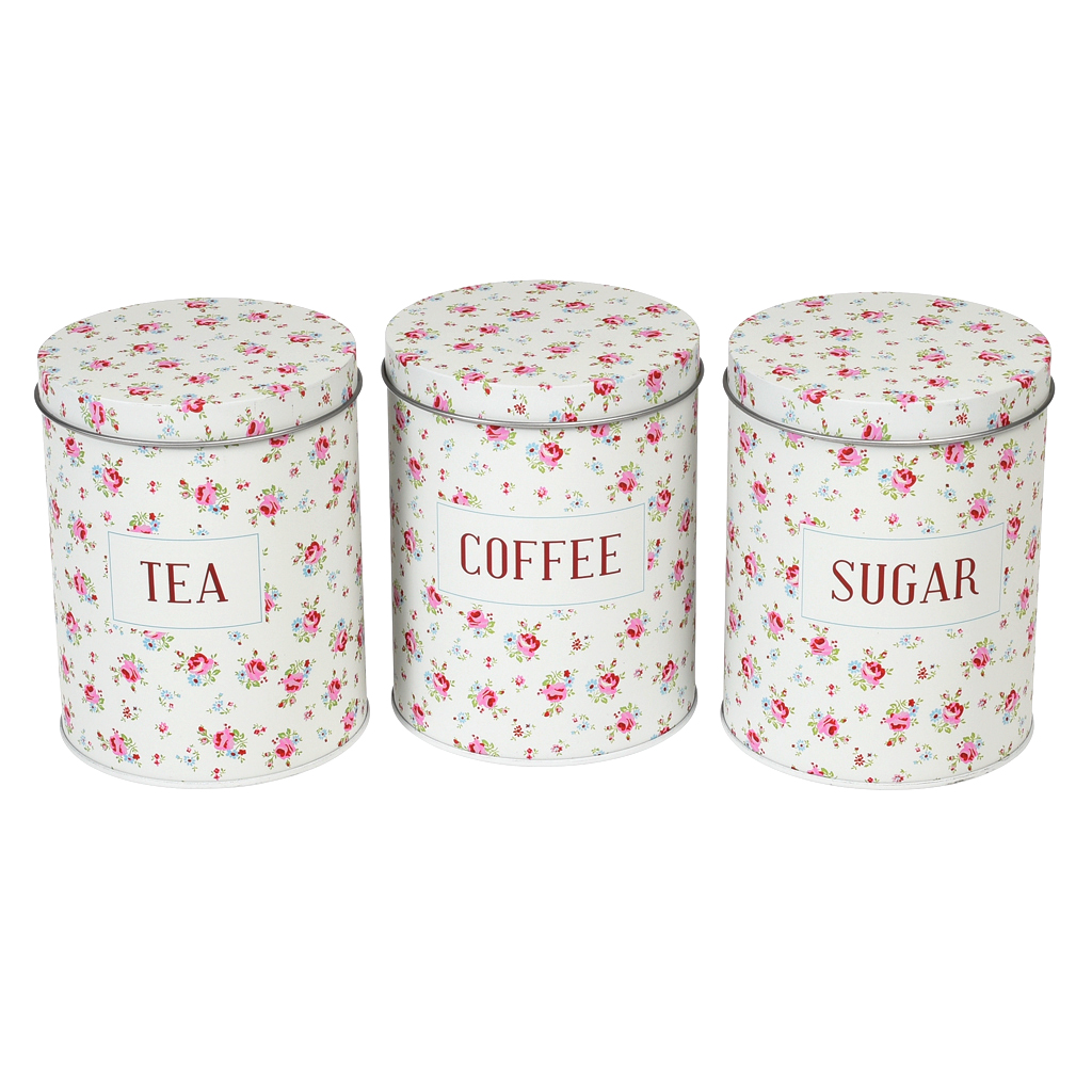 Set Mit Dosen Kaffee-Tee-Zucker \
