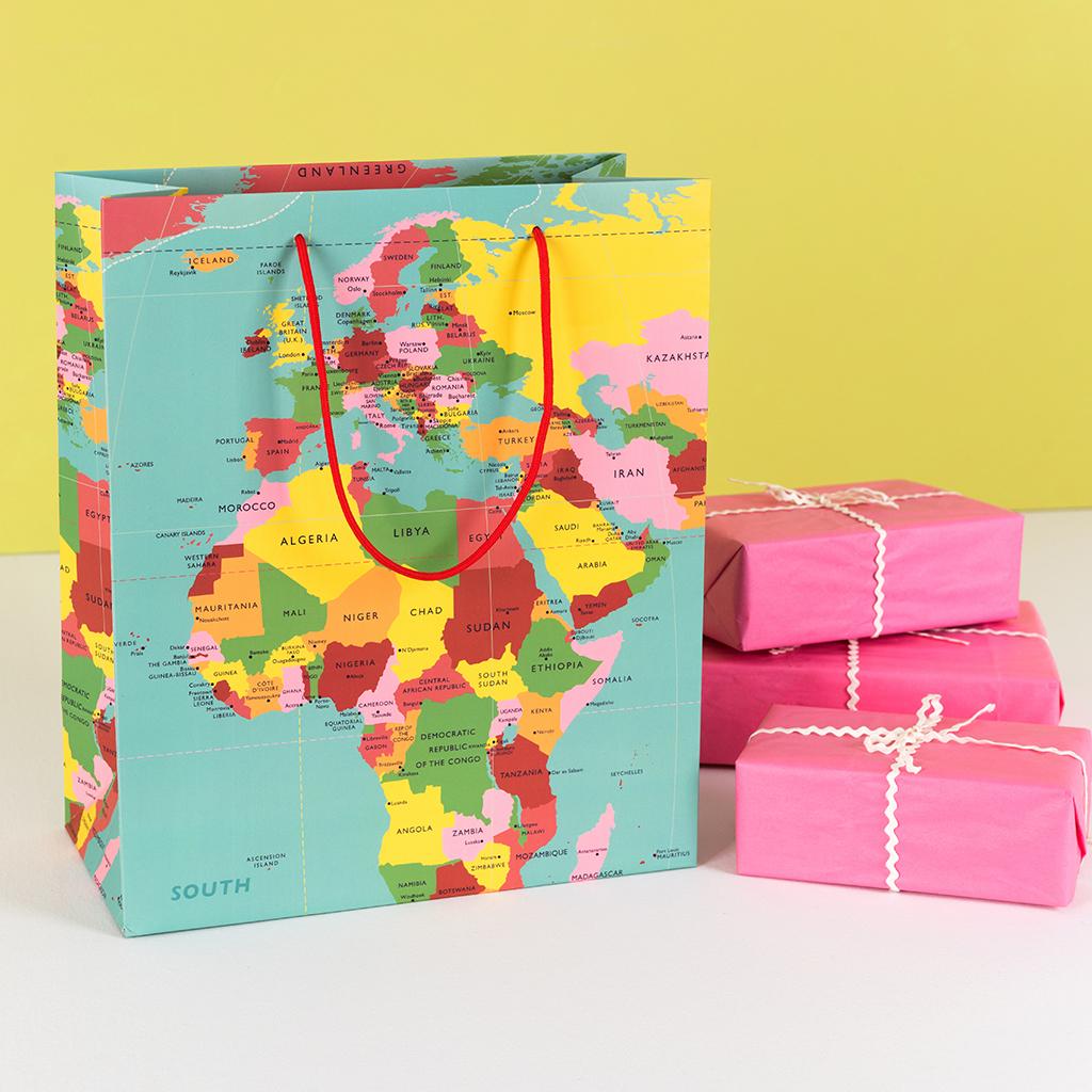 World Map Gift Bags.Large World Map Gift Bag Rex London Dotcomgiftshop