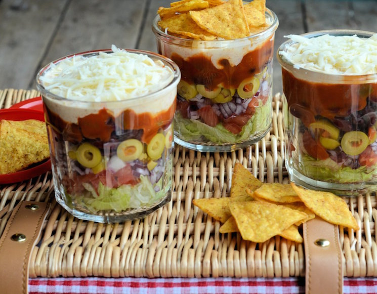 layered picnic salads in a jar