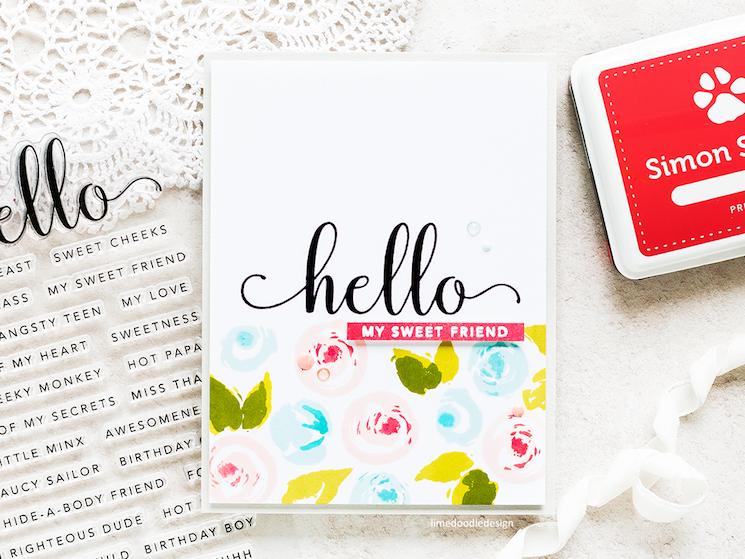 'hello my sweet friend' homemade card design