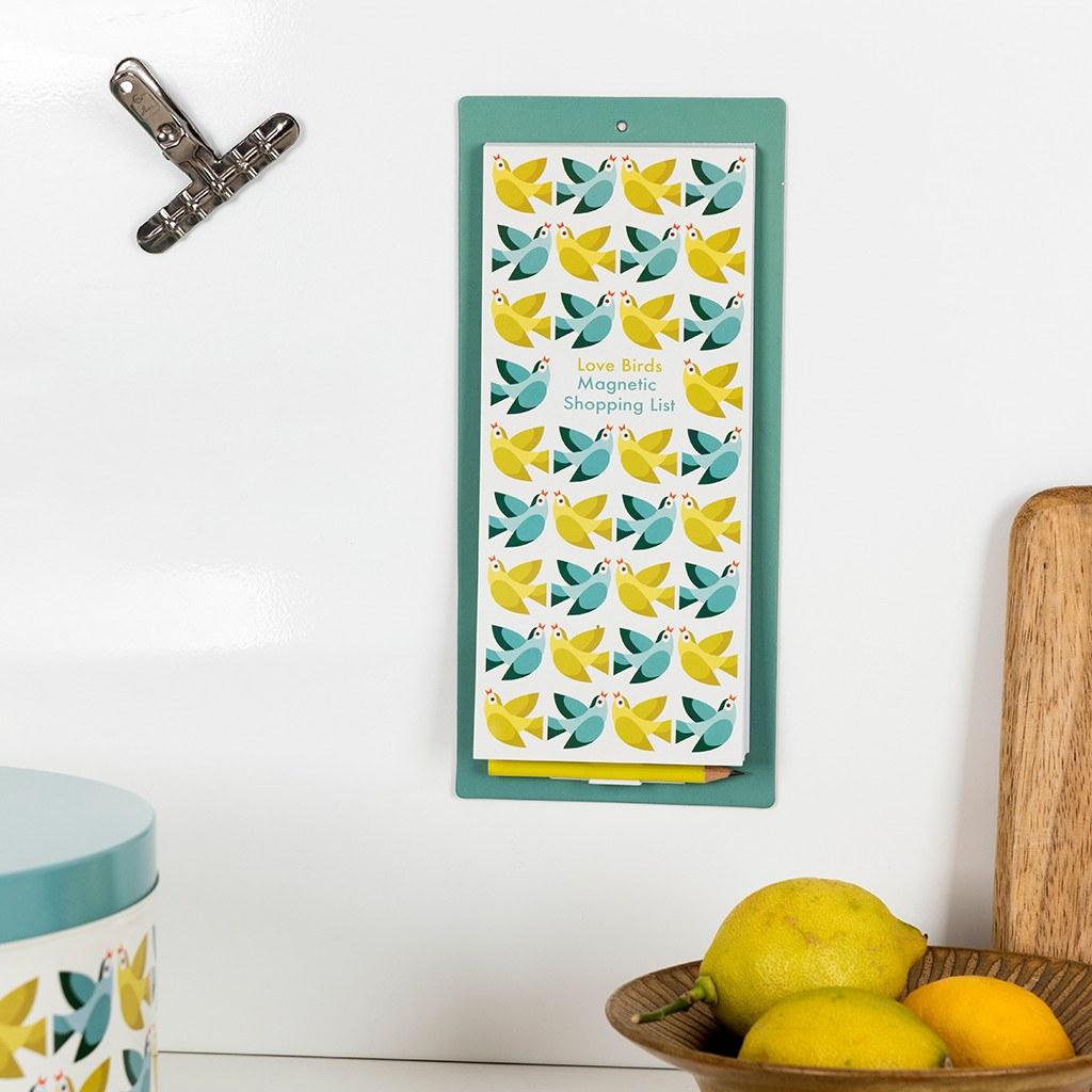 Love Birds magnetic shopping list