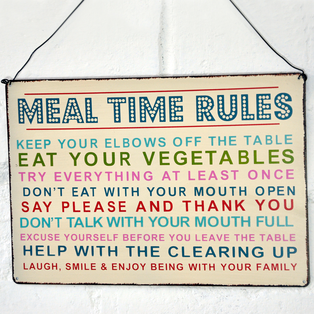Meal Time Rules Hanging Metal Sign Rex London Dotcomgiftshop - Open table rules