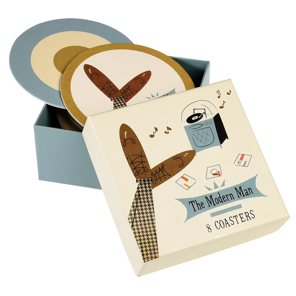 Modern Man Coasters (set Of 8) | Rex London (dotcomgiftshop)