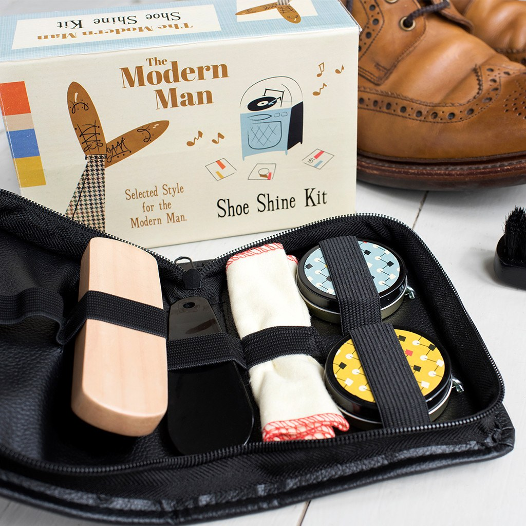 The Modern Man shoe shine kit