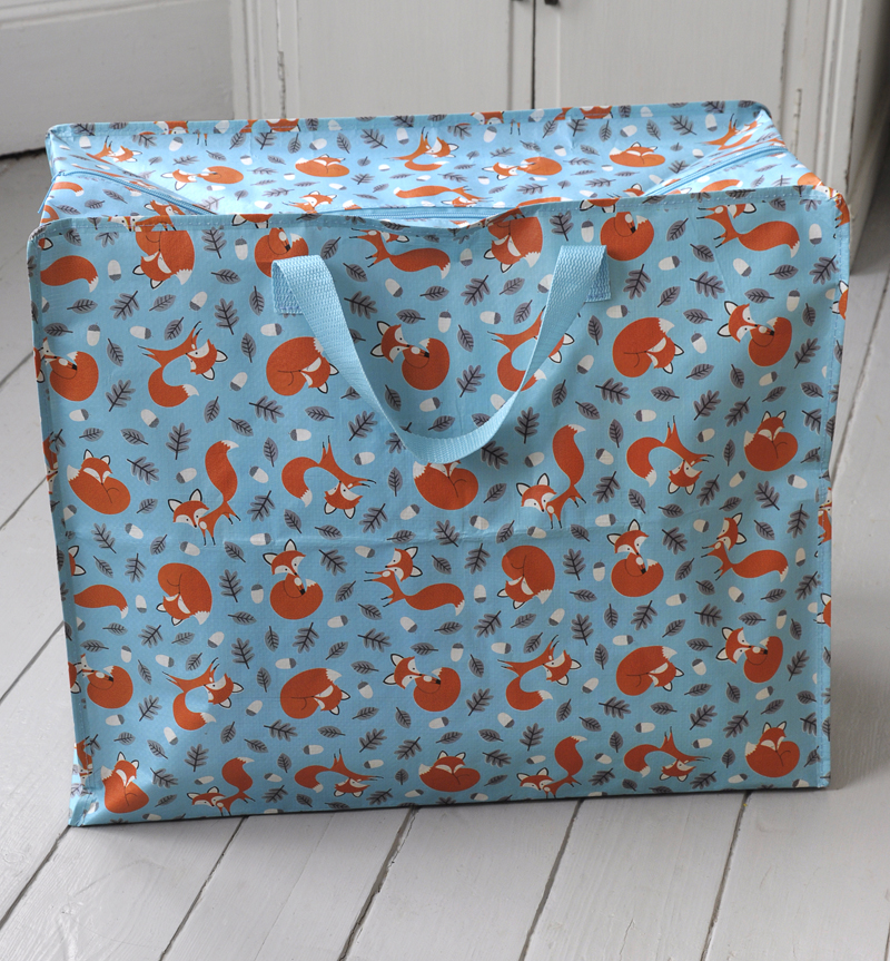 Rusty The Fox Blue Laundry Storage Bag
