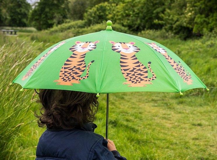 green-tiger-print-umbrella