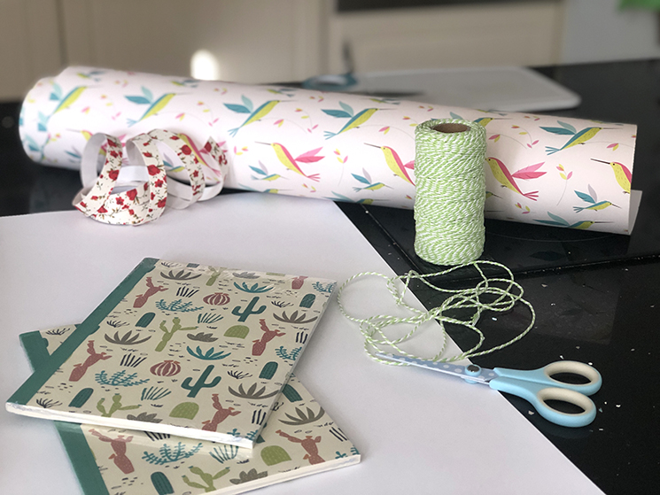 Hummingbird wrapping paper and notebooks