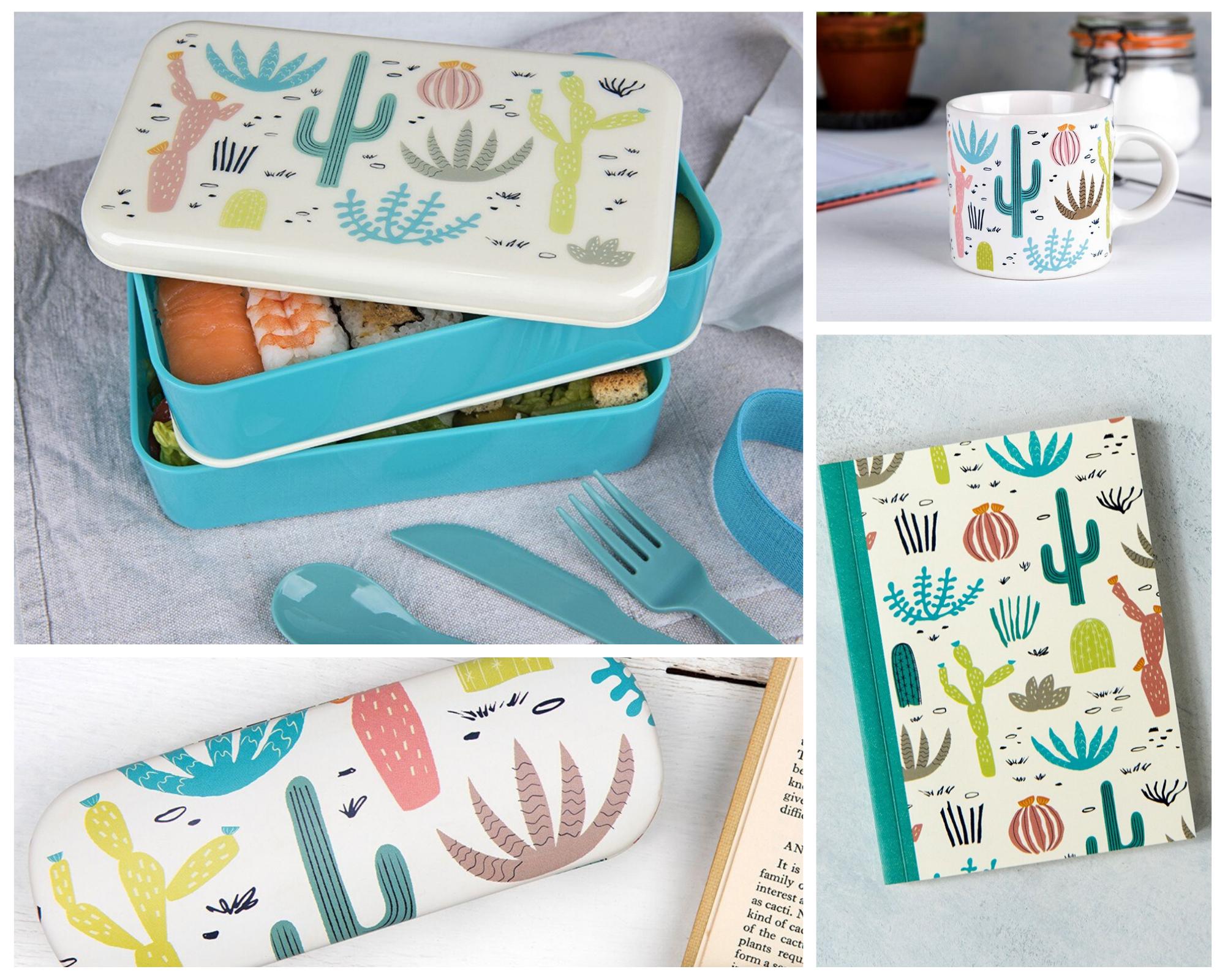 Desert in Bloom bento box, mug, notebook, glasses case