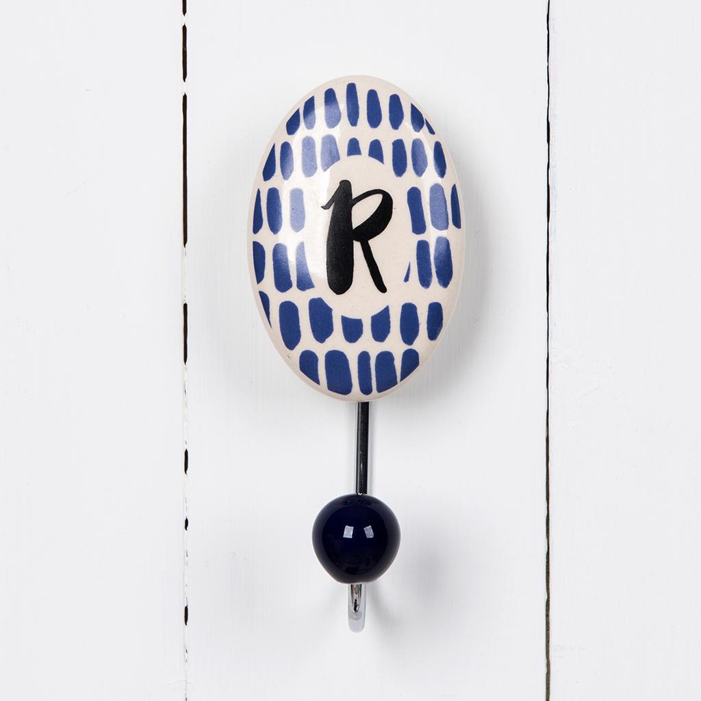 painted ceramic letter hook r dotcomgiftshop
