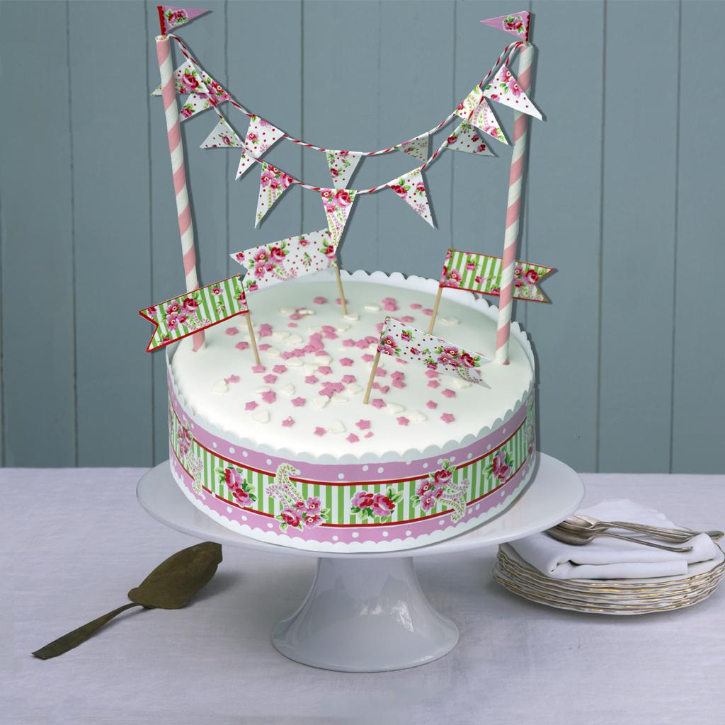 dotcomgiftshop PAISLEY ROSE MINI BUNTING BIRTHDAY CAKE ...