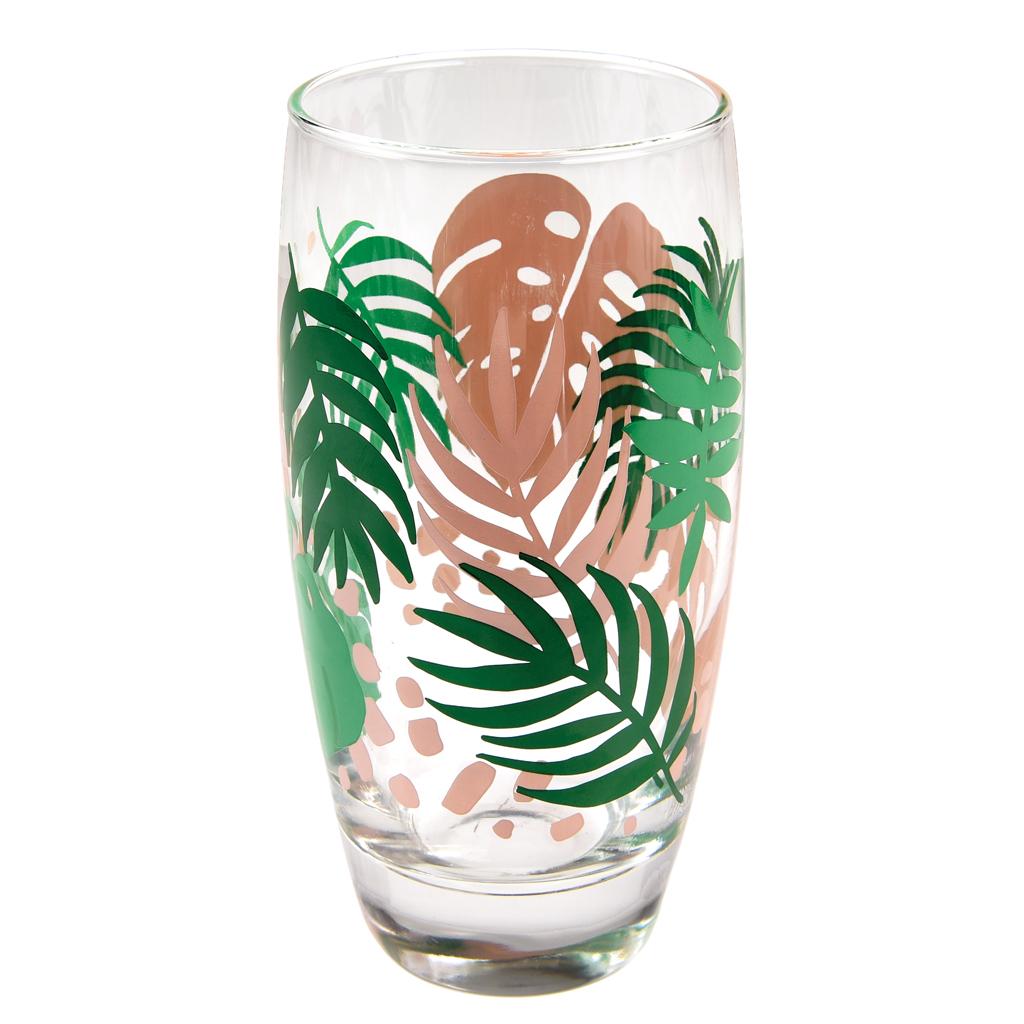 Tropical Palm Drinking Glass Rex London Dotcomgiftshop