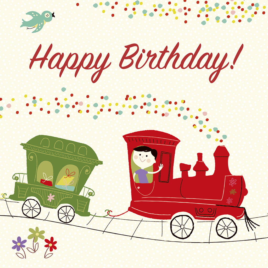 Party train birthday card rex london dotcomgiftshop colourful party train kids birthday card bookmarktalkfo Image collections