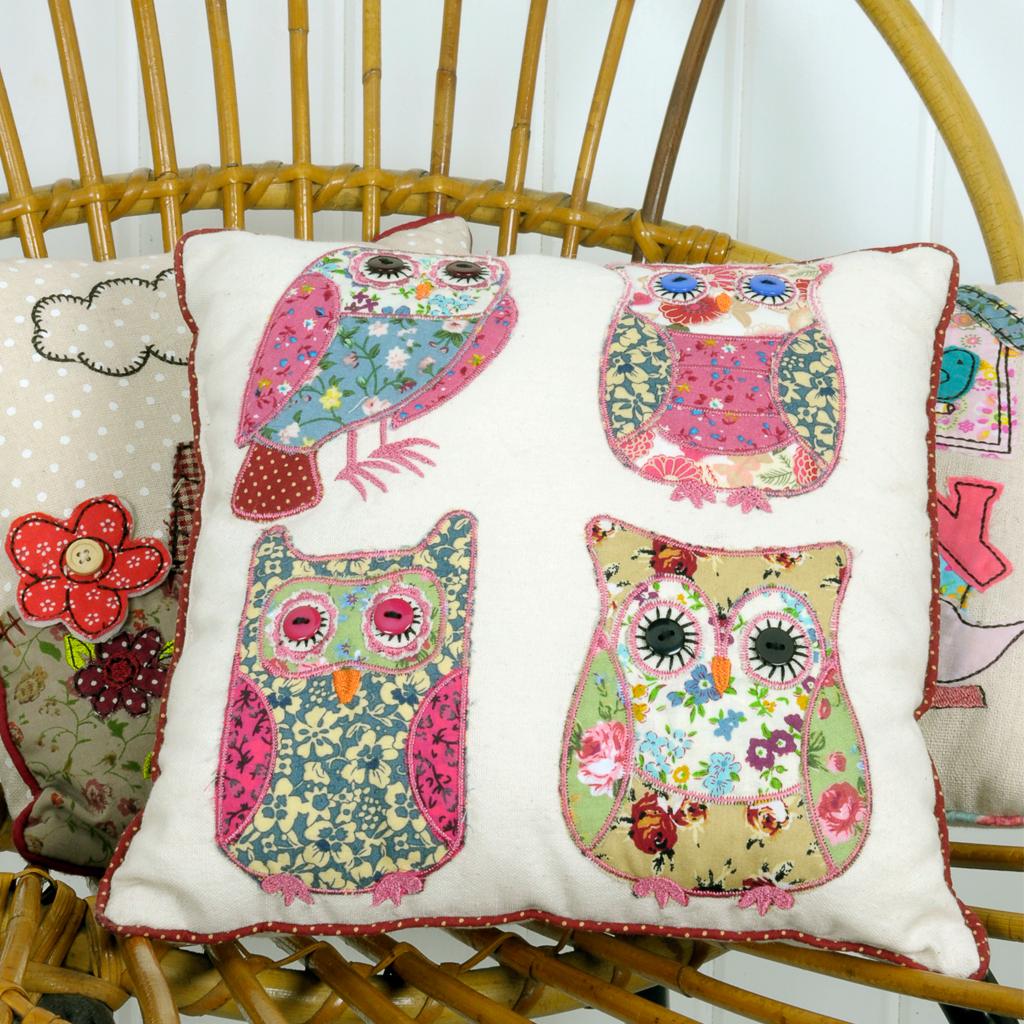 Patchwork Owls Cushion Rex London At Dotcomgiftshop