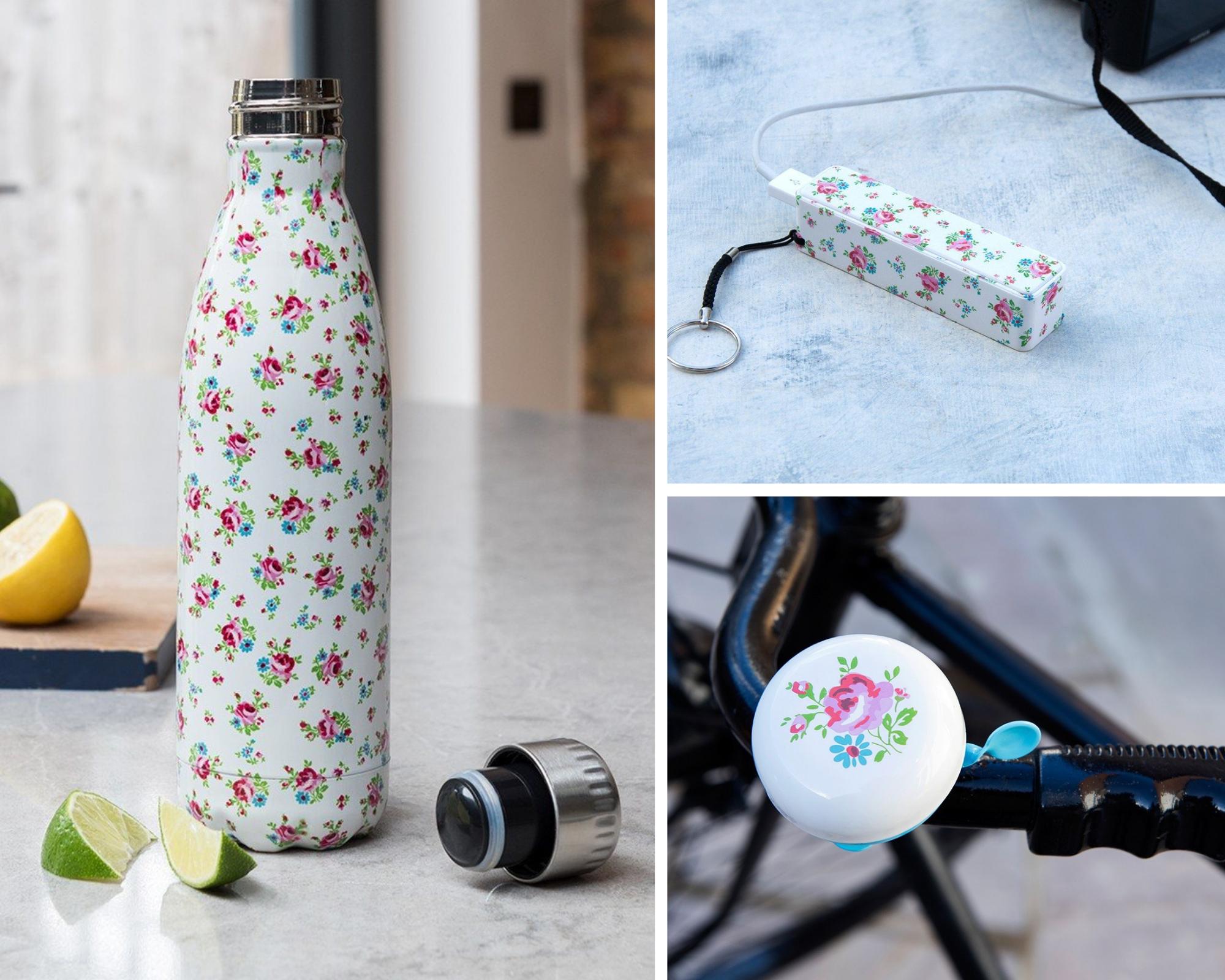 La Petite Rose water bottle, USB charger, bike bell