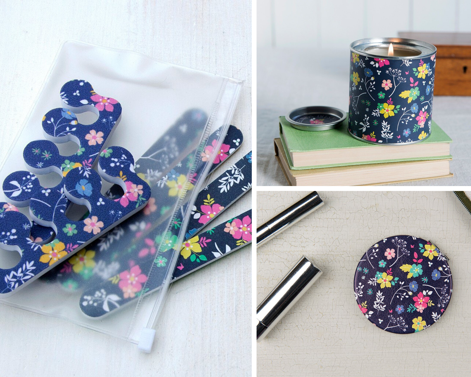 Ditsy Garden nail file kit, scented candle, compact mirror