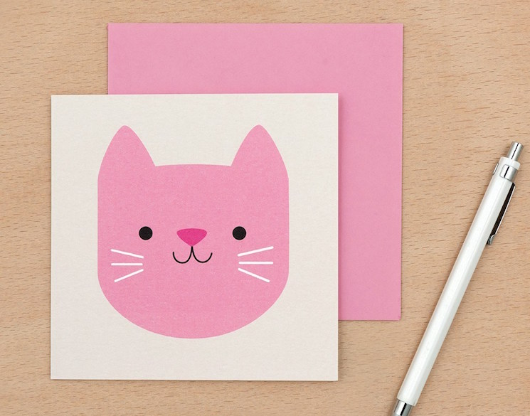 Pink cat card available from Dotcomgiftshop