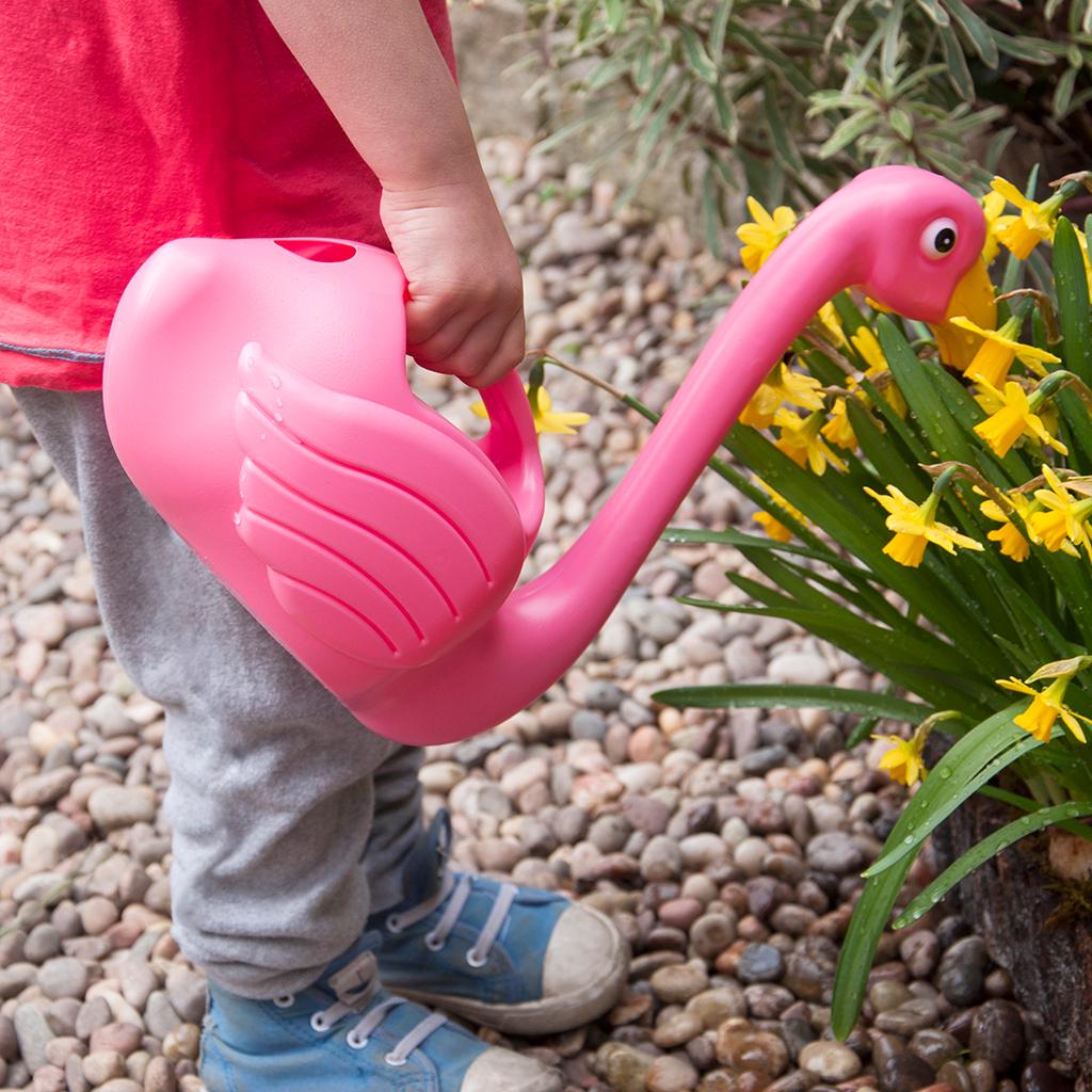 flamingo watering can dotcomgiftshop
