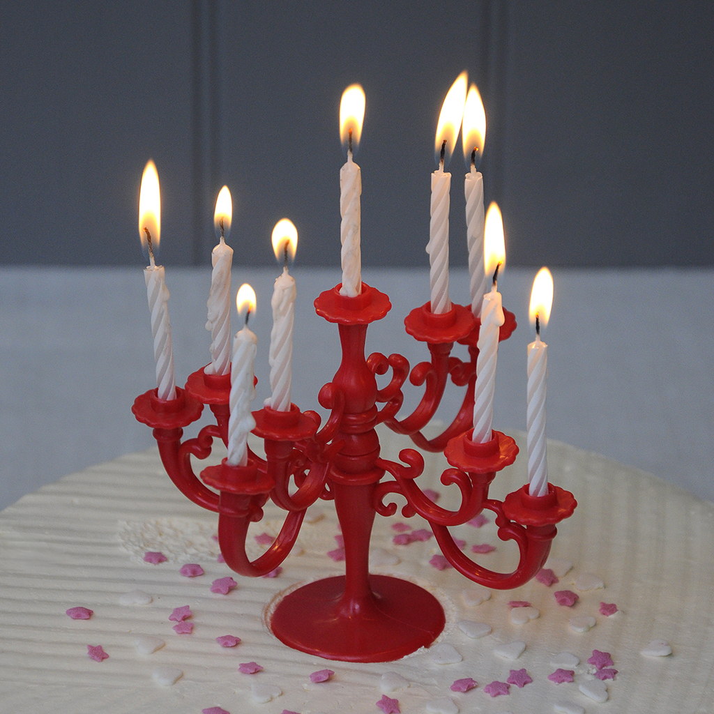 Celebration Cake Red Candelabra With Candles Rex London