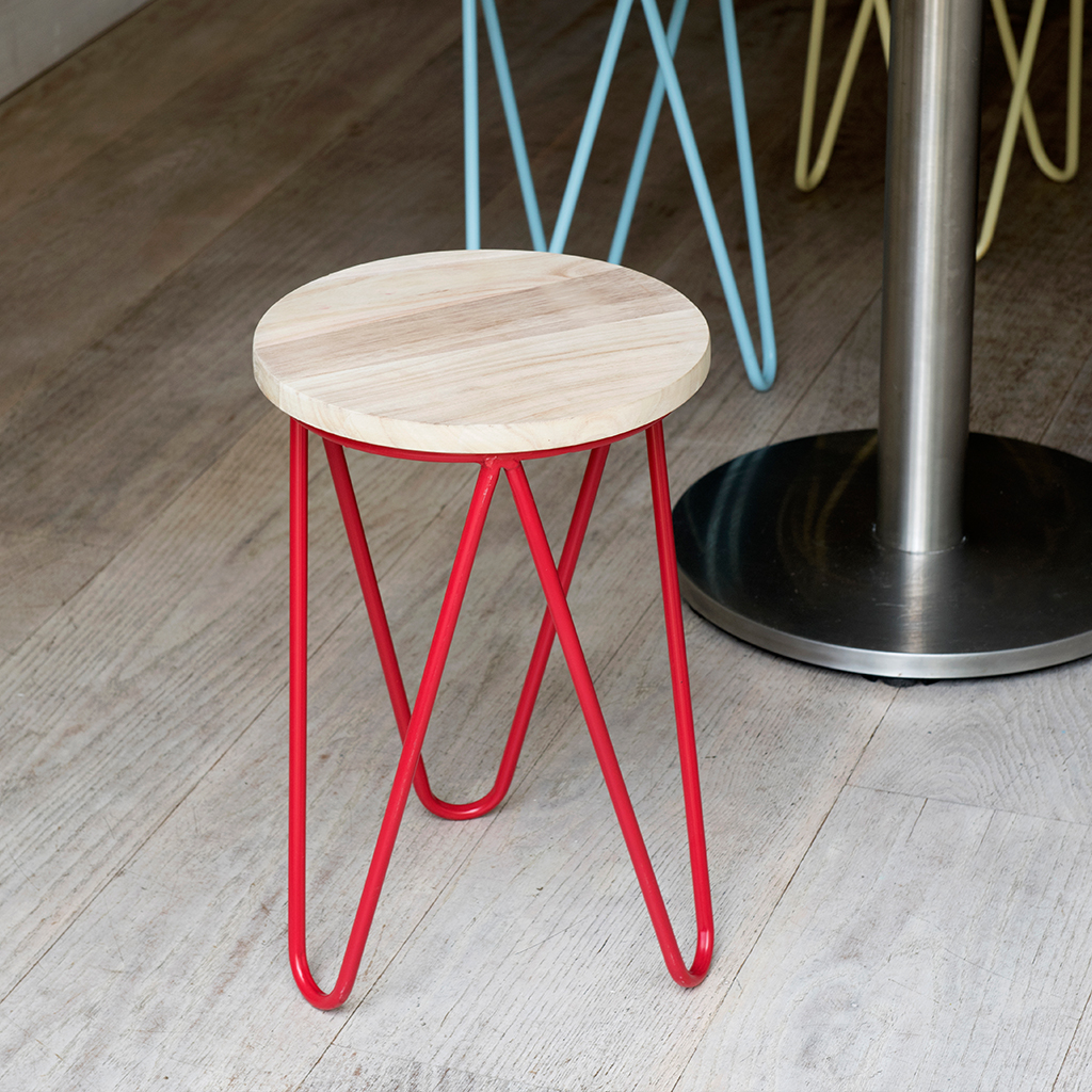Red Fifties Style Wood and Metal Kitchen Stool ... & Red Fifties Style Wooden Stool | dotcomgiftshop islam-shia.org