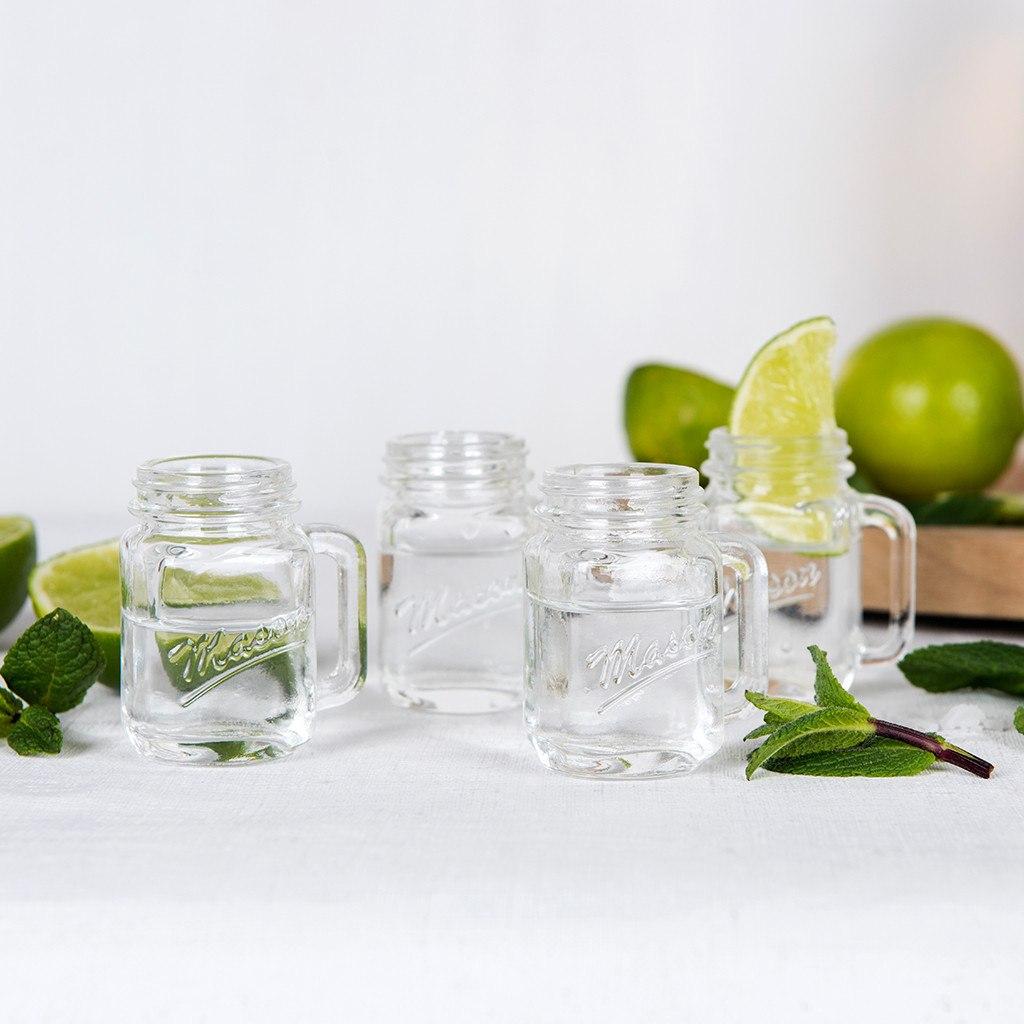 Set of 4 mason shot glasses