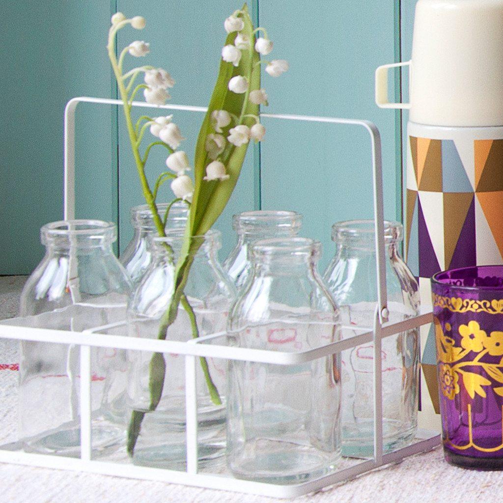Set of six school milk bottles
