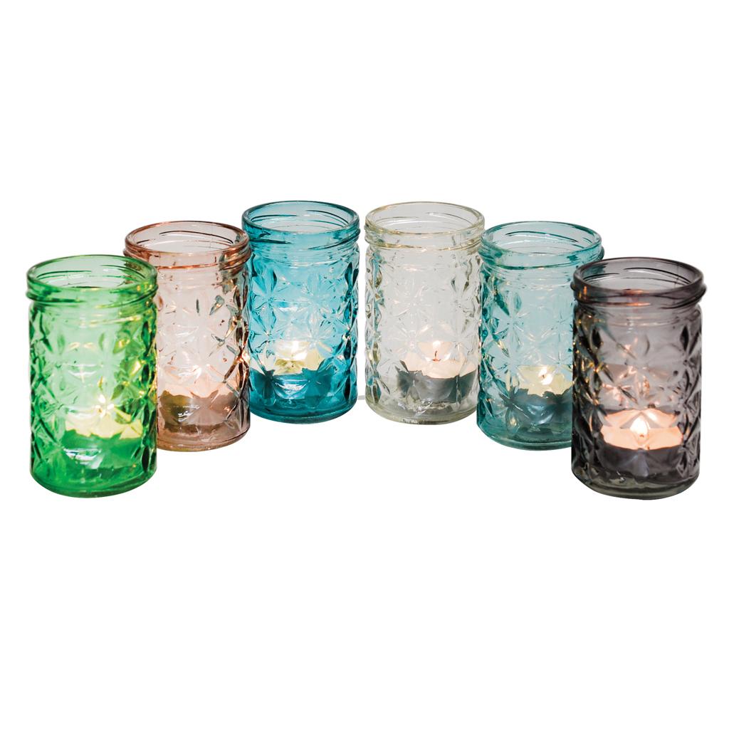 Set Of 6 Coloured Glass Tealight Holders Rex London