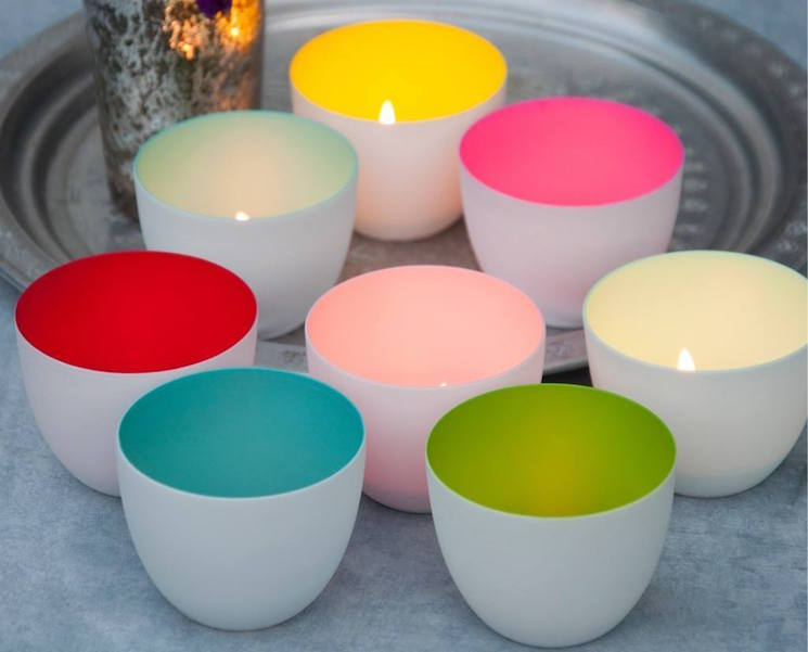colourful porcelain candle holders from dotcomgiftshop