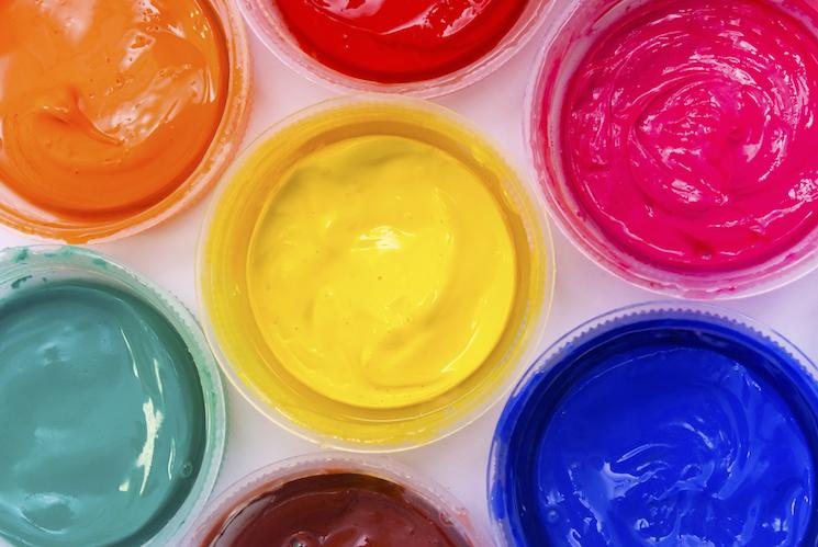 coloured paint pots
