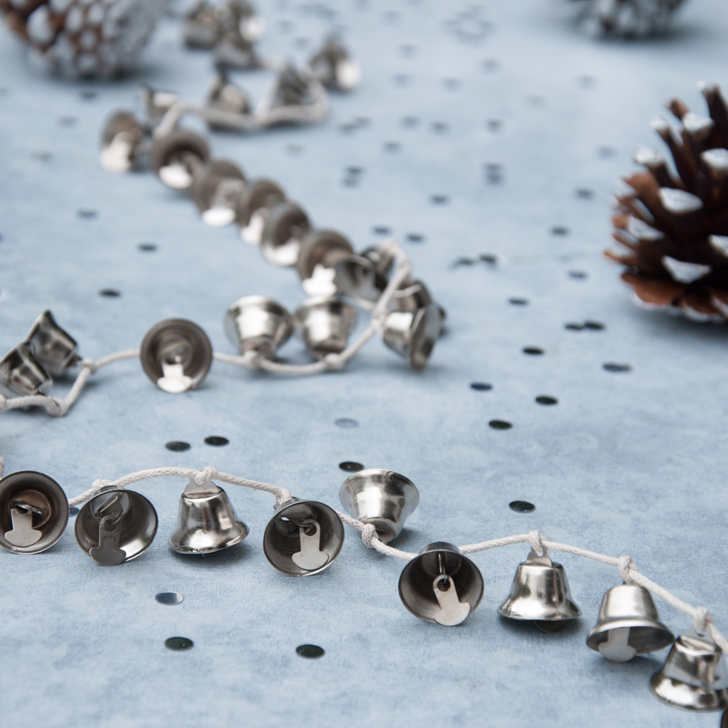 Jingle Bell Garland Silver Jingle Bells Garland Dotcomgiftshop